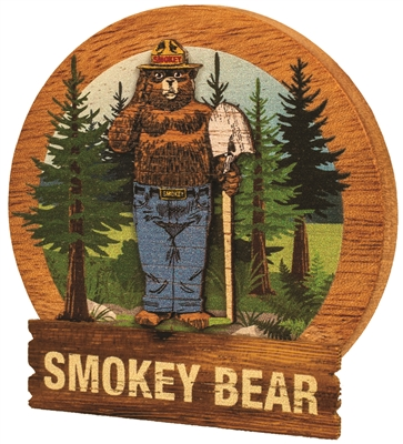 Smokey Bear Round Wooden Magnet